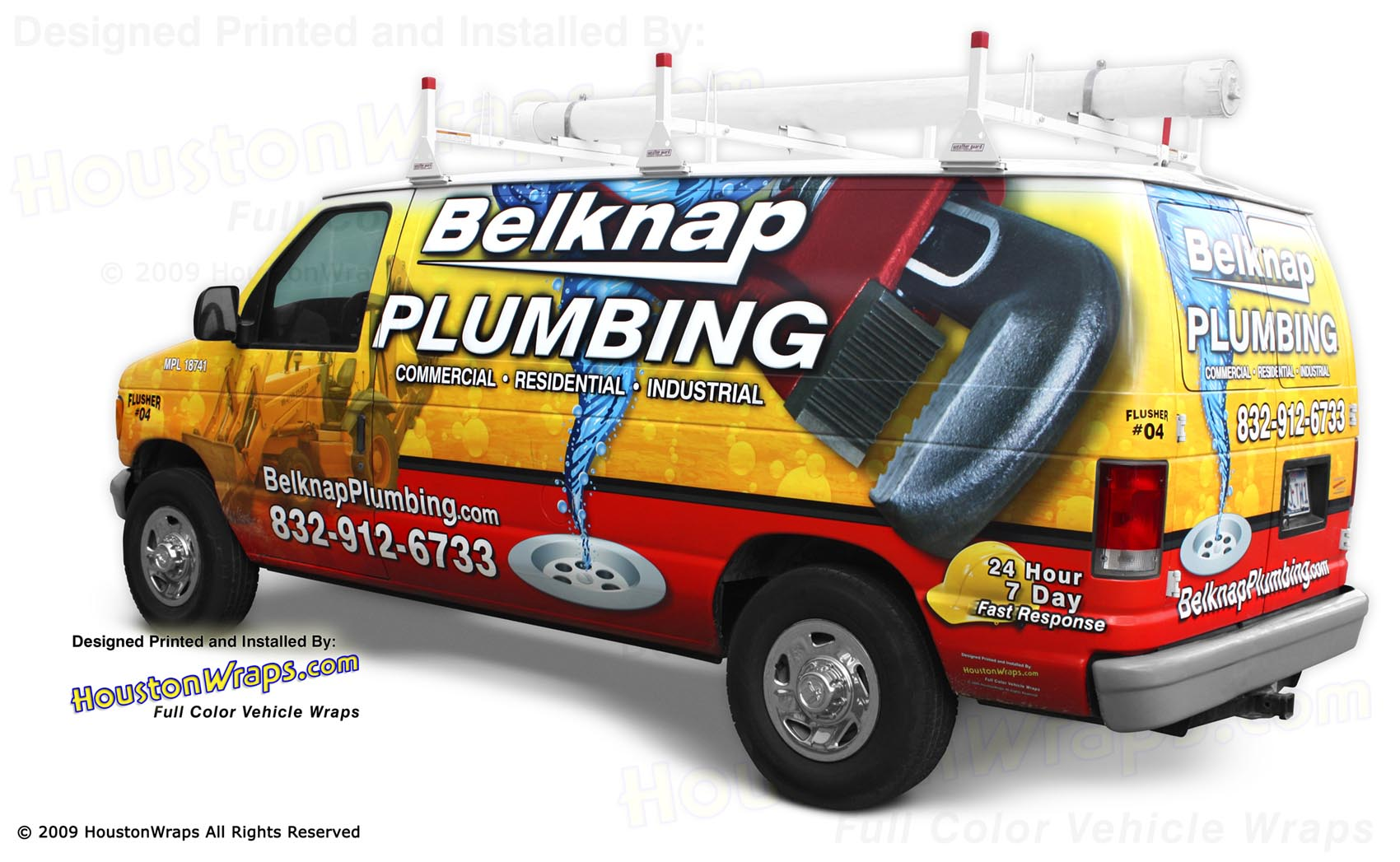Houston Wraps - Belknap Plumbing - Van Wrap